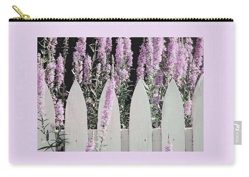 Picket Fences Carry-all Pouch featuring the photograph Beyond A Garden's Picket Fence by Angela Davies