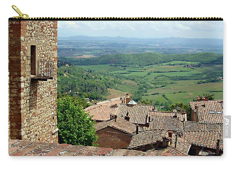 Beyond The Rooftops Carry-all Pouch featuring the photograph Beyond The Rooftops 1 by Ellen Henneke