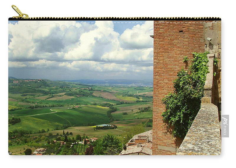 Beyond The Rooftops Carry-all Pouch featuring the photograph Beyond The Rooftops 2 by Ellen Henneke