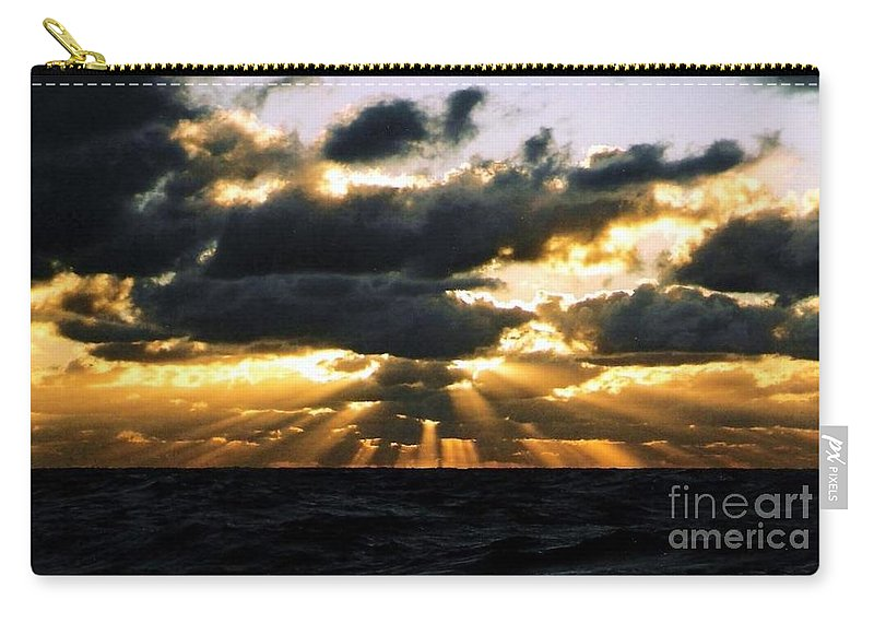 Sunset Carry-all Pouch featuring the photograph Crepuscular Biblical Rays At Dusk In The Gulf Of Mexico by Michael Hoard