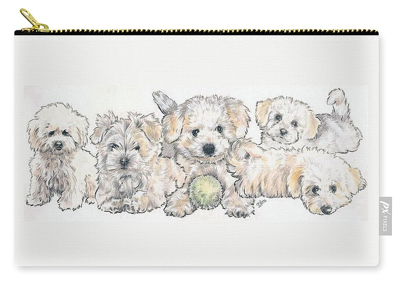 Non-sporting Class Carry-all Pouch featuring the mixed media Bichon Frise Puppies by Barbara Keith