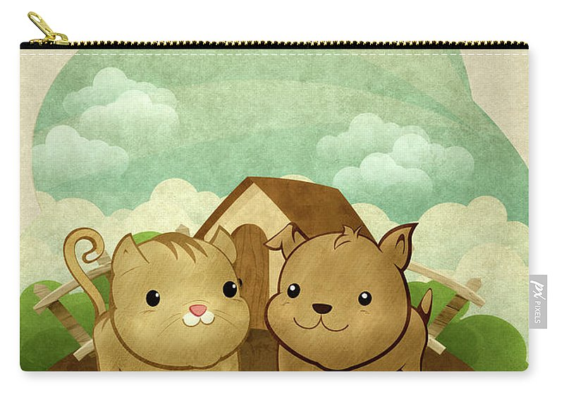 Pets Carry-all Pouch featuring the digital art Bichos by Por Caio Ramos