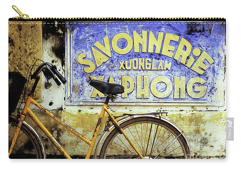 Weathered Carry-all Pouch featuring the photograph Bicycle 01 by Rick Piper Photography