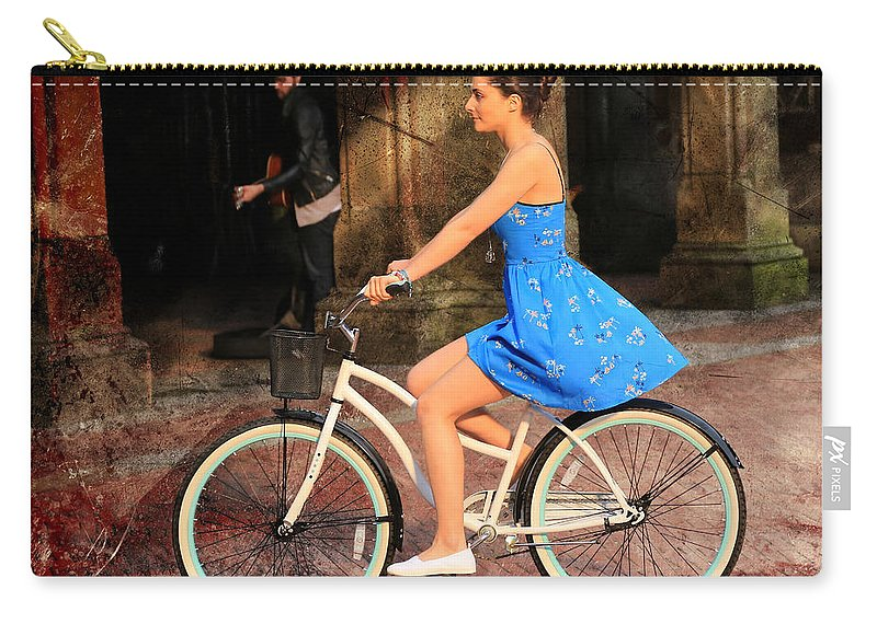 Bike Carry-all Pouch featuring the photograph Bicycle Girl 1c by Andrew Fare