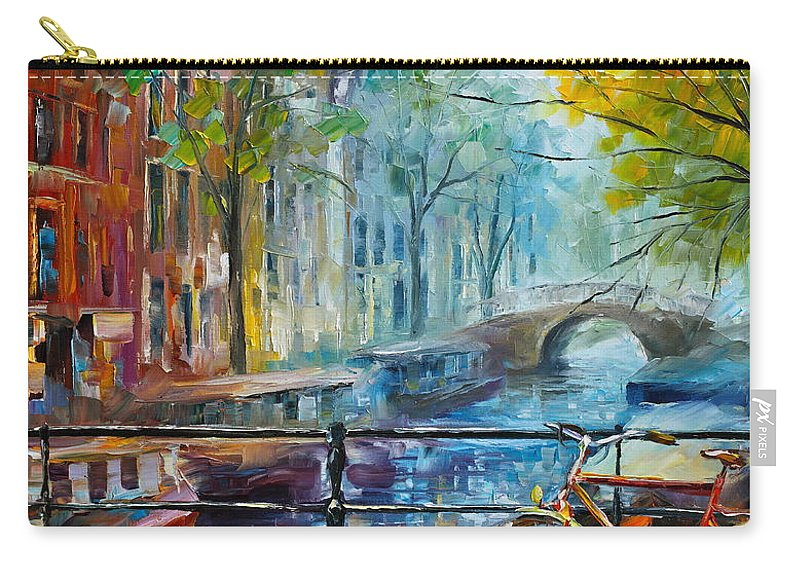 Amsterdam Carry-all Pouch featuring the painting Bicycle in Amsterdam by Leonid Afremov
