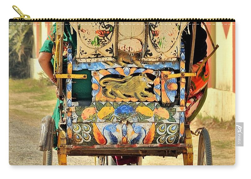 Bicycle Carry-all Pouch featuring the photograph Bicycle Rikshaw - Kumbhla Mela - Allahabad India 2013 by Kim Bemis