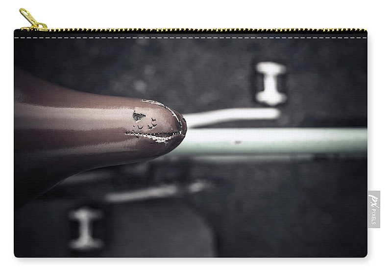 Bicycle Seat Carry-all Pouch featuring the photograph Bicycle Seat From Above by Paolomartinezphotography