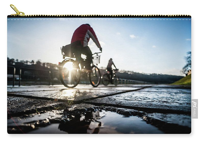 People Carry-all Pouch featuring the photograph Bicycles by A. Aleksandravicius