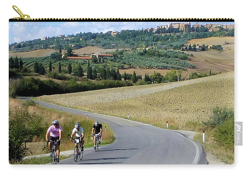Italy Carry-all Pouch featuring the photograph Bicycling In Tuscany by Richard Rutan