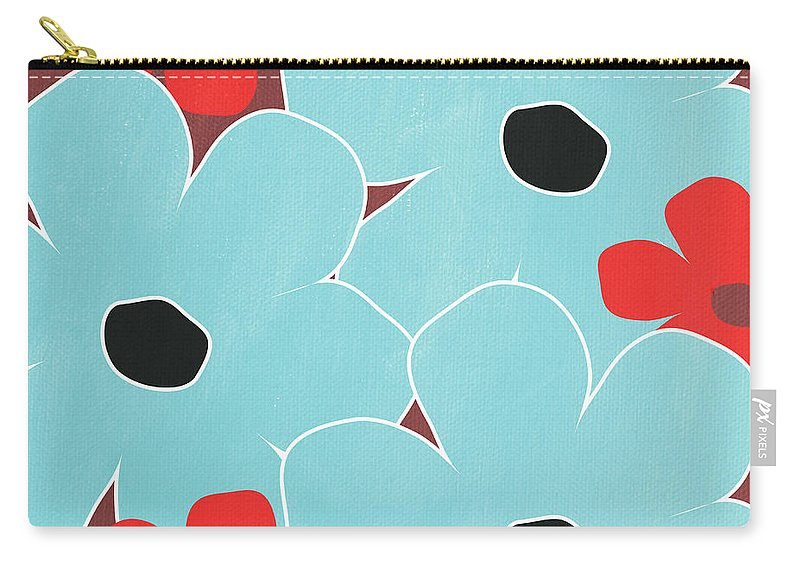 Flowers Carry-all Pouch featuring the mixed media Big Blue Flowers by Linda Woods