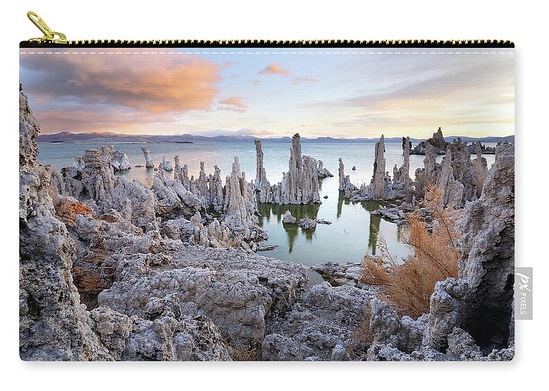 Water's Edge Carry-all Pouch featuring the photograph Big Cloud Above Tufas On Mono Lake by Rezus