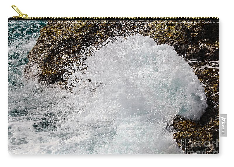 Aruba Carry-all Pouch featuring the photograph Big Crash by Judy Wolinsky