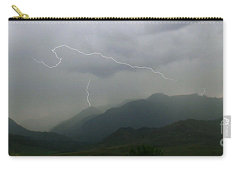 Lightning Carry-all Pouch featuring the photograph Big Creek Lightning by J L Woody Wooden