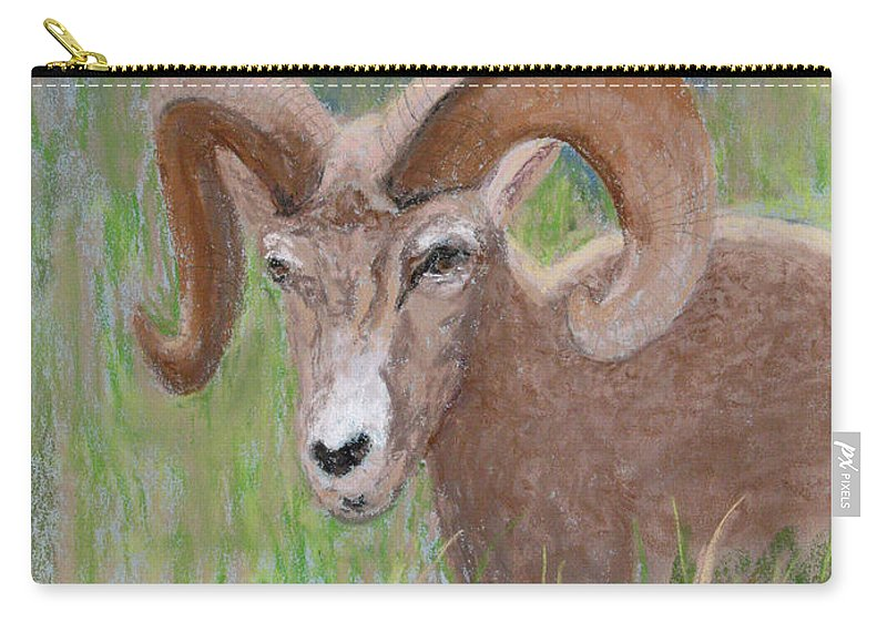 Big Horn Sheep Carry-all Pouch featuring the pastel Big Horn Sheep by Patricia Beebe