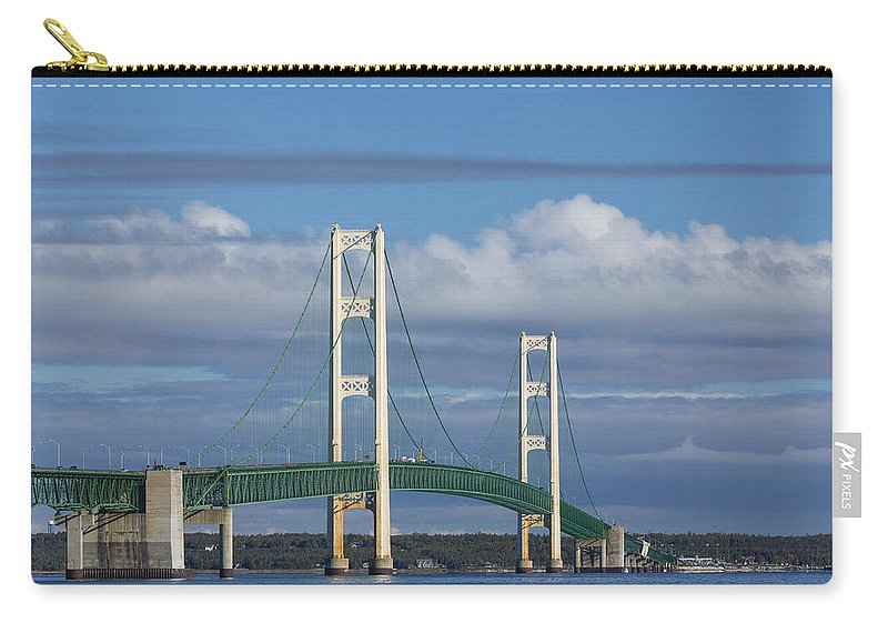 Bridge Carry-all Pouch featuring the photograph Big Mackinac Bridge 59 by John Brueske