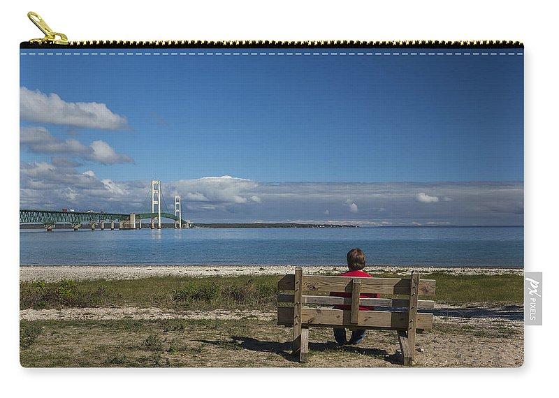 Bridge Carry-all Pouch featuring the photograph Big Mackinac Bridge 69 by John Brueske