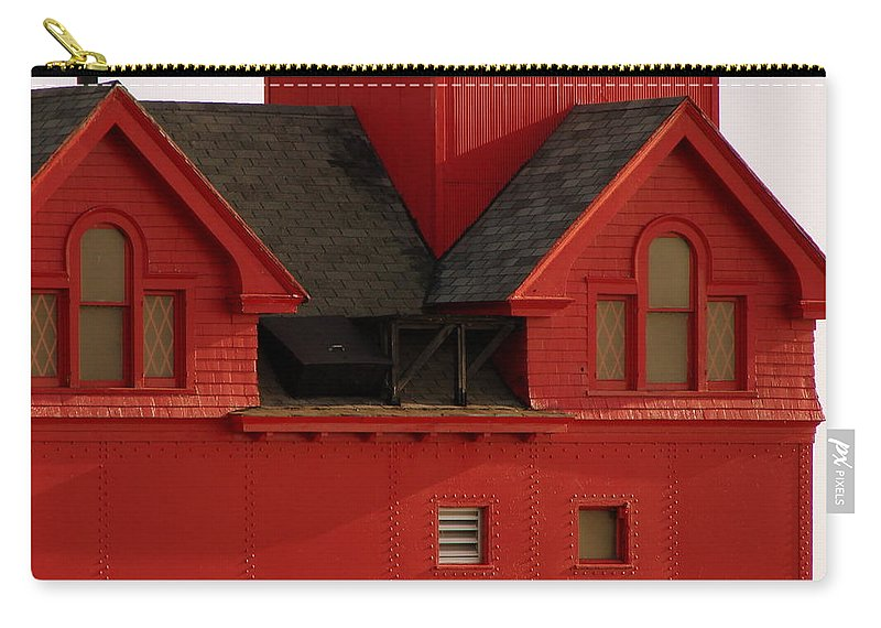 Windows Carry-all Pouch featuring the photograph Big Red Holland Harbor Light Michigan by Michelle Calkins