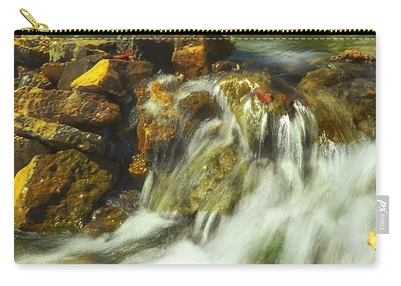 Beautiful Waterfall Carry-all Pouch featuring the photograph Big River Waterfall And Dam by Peggy Franz