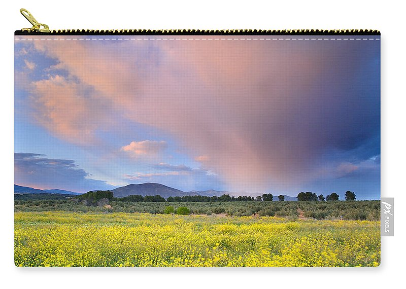 Storm Carry-all Pouch featuring the photograph Big Storm And Tornado At Sunset by Guido Montanes Castillo