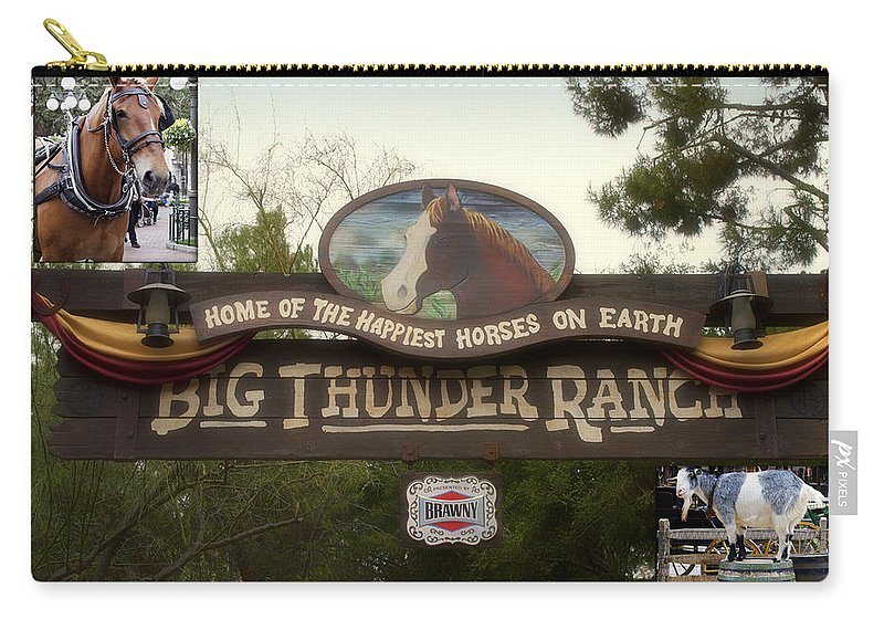 Disney Carry-all Pouch featuring the photograph Big Thunder Ranch Signage Frontierland Disneyland by Thomas Woolworth