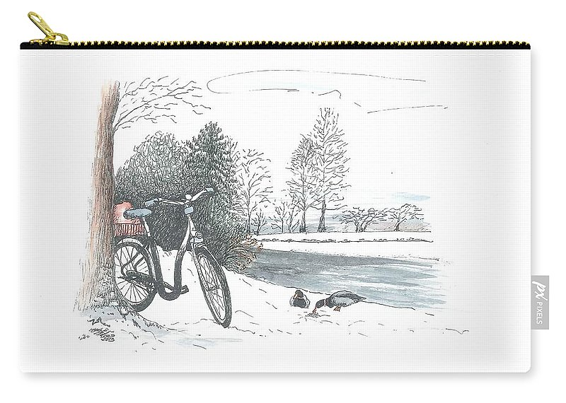Bike Carry-all Pouch featuring the painting Bike In The Snow by Petra Stephens