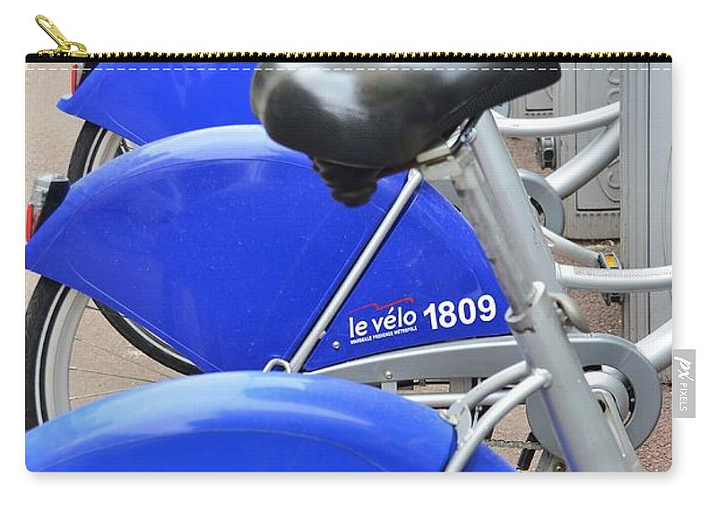 Advertising Carry-all Pouch featuring the photograph Bike Rental In Marseille by Dany Lison
