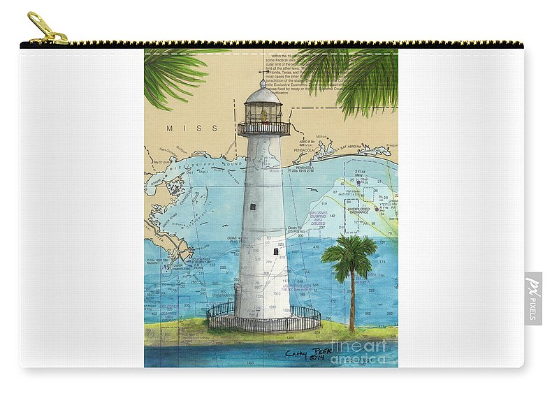Carry-all Pouch featuring the painting Biloxi Lighthouse Ms Nautical Chart Art Cathy Peek by Cathy Peek