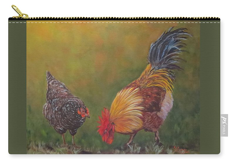 Rooster Carry-all Pouch featuring the painting Biltmore Chickens by Sandra Reeves