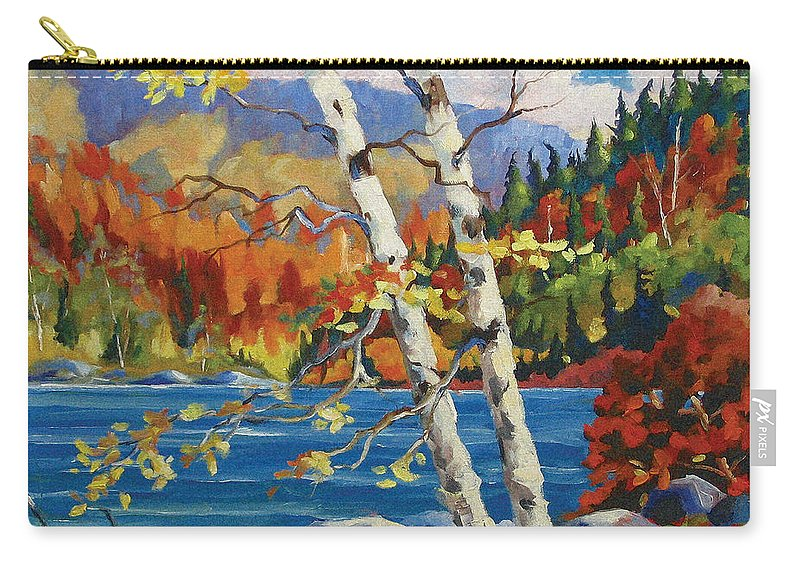 Art Carry-all Pouch featuring the painting Birches By The Lake by Richard T Pranke