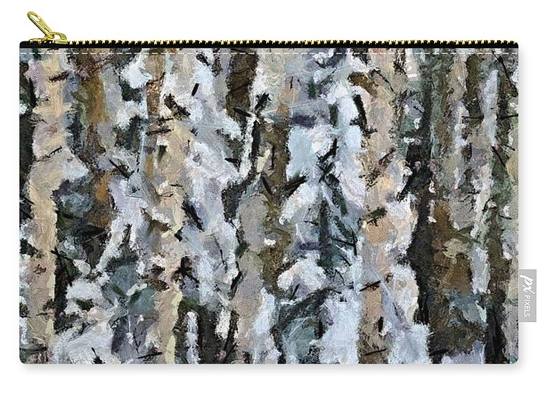Season Carry-all Pouch featuring the painting Birches In The Winter by Dragica Micki Fortuna