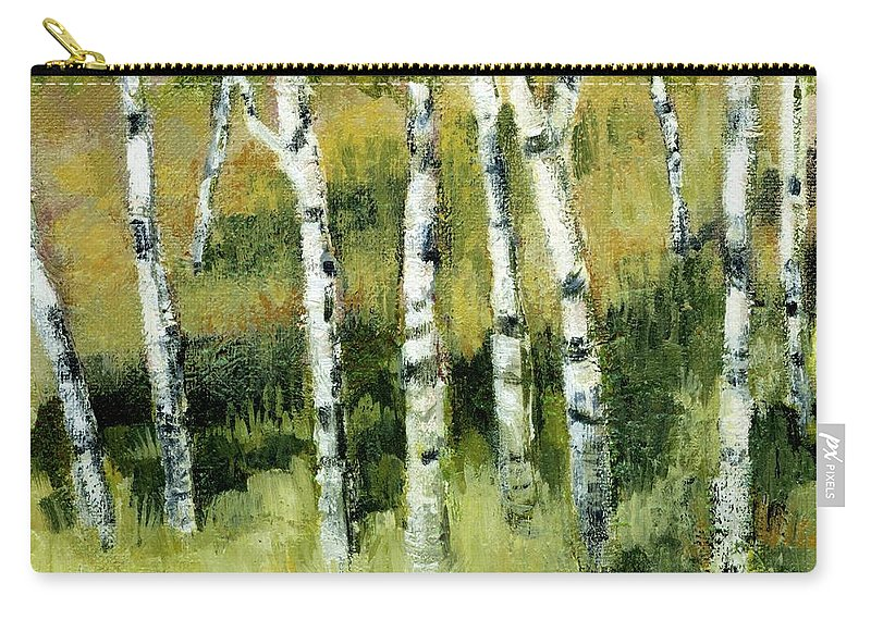 Trees Carry-all Pouch featuring the painting Birches On A Hill by Michelle Calkins