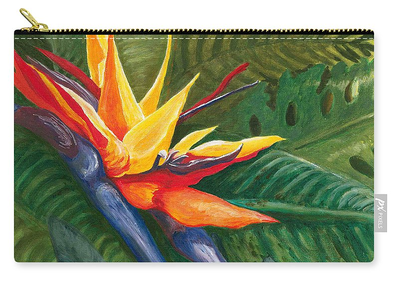 Bird Of Paradise Carry-all Pouch featuring the painting Bird Of Paradise by Carlene Salazar