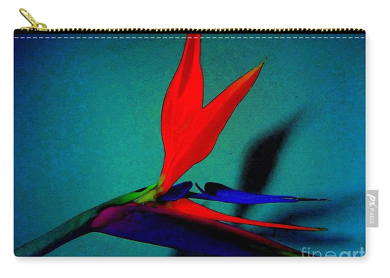 Flower Carry-all Pouch featuring the photograph Bird Of Paradise With Blue Background by Susan Carella