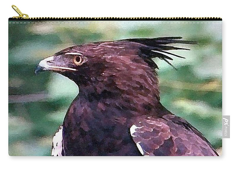 Eagle Carry-all Pouch featuring the painting Bird Of Prey In Watercolor by George Pedro