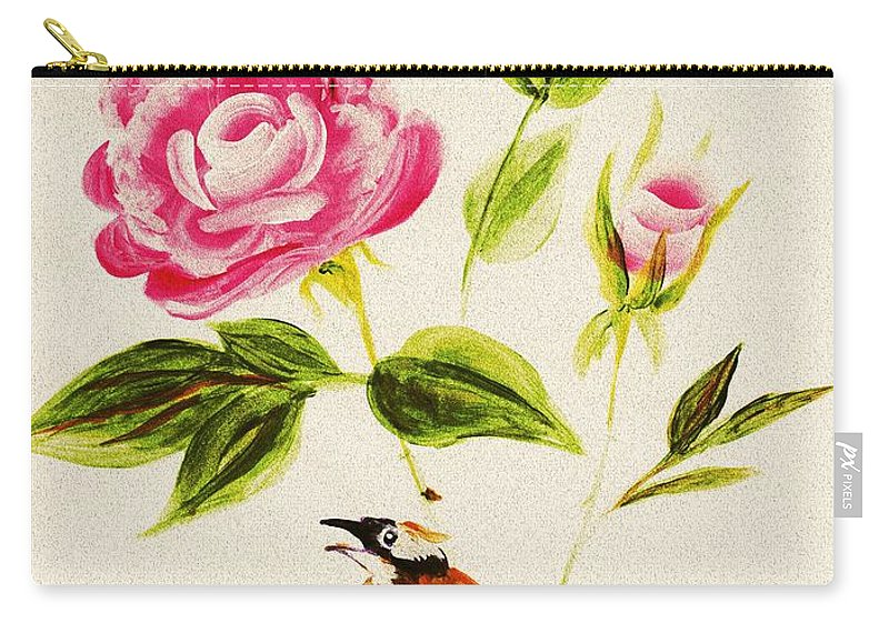 Malakhova Carry-all Pouch featuring the painting Bird On A Flower by Anastasiya Malakhova