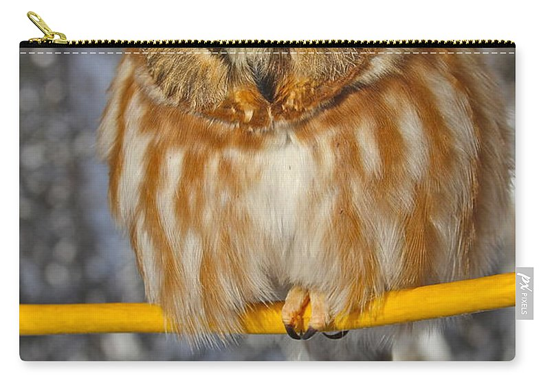 Owl Carry-all Pouch featuring the photograph Bird On A Wire by Rick Monyahan