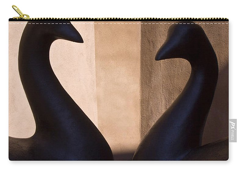 Bird Carry-all Pouch featuring the photograph Bird Sculptures by Carol Leigh