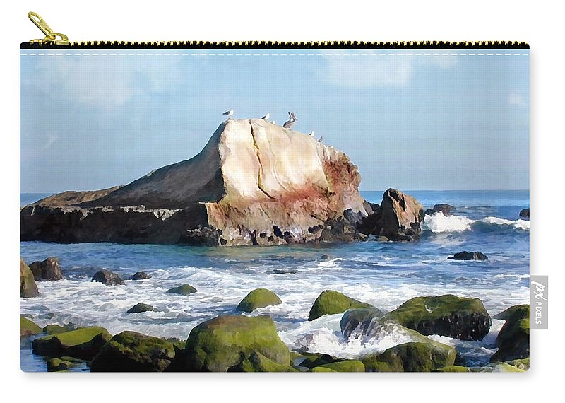 Ocean Carry-all Pouch featuring the painting Bird Sentry Rock At Dana Point Harbor by Elaine Plesser