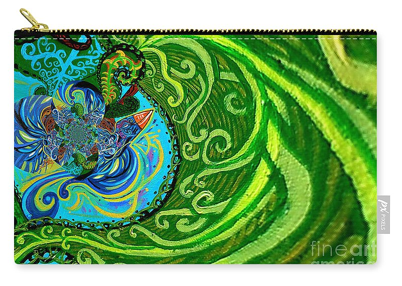 Bird Carry-all Pouch featuring the painting Bird Song Swirl by Genevieve Esson