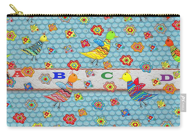Abstract Carry-all Pouch featuring the digital art Birds And Flowers For Children by Liane Wright