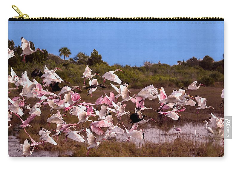 Birds Carry-all Pouch featuring the photograph Birds Call To Flight by John M Bailey