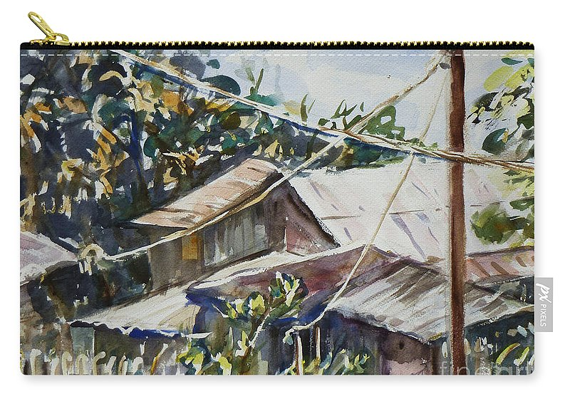 Landscape Carry-all Pouch featuring the painting Bird's Eye View by Xueling Zou