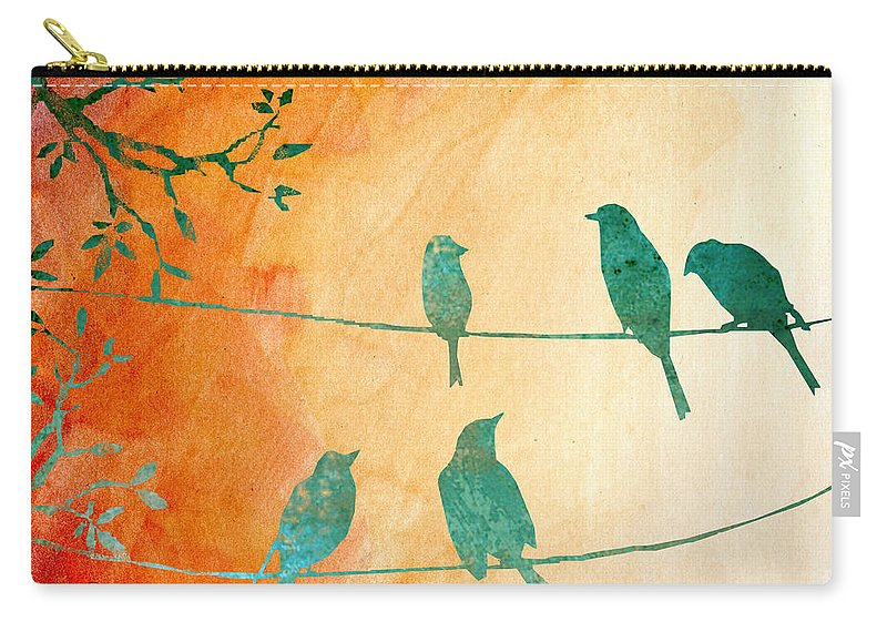 Birds Carry-all Pouch featuring the digital art Birds Gathered On Wires-5 by Jean Plout