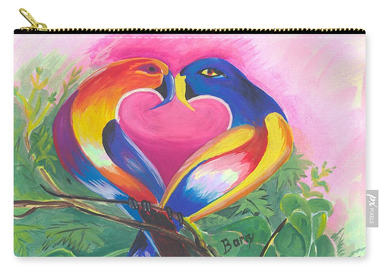 Love Carry-all Pouch featuring the painting Birds In Love 02 by Emmanuel Baliyanga