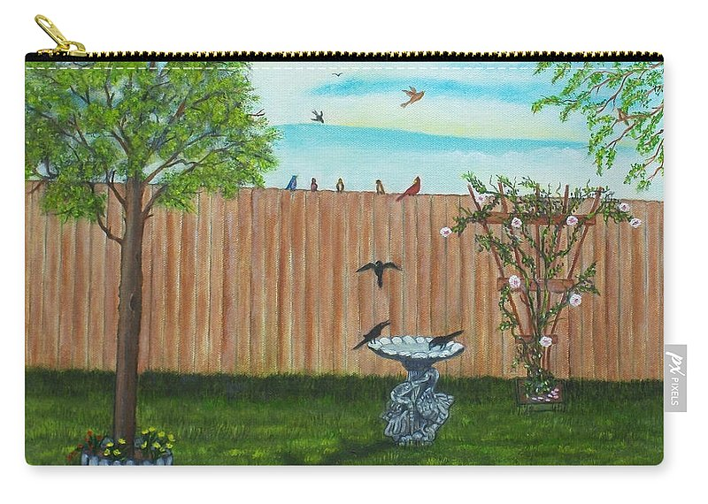Landscape Carry-all Pouch featuring the painting Birds In The Backyard by Brenda Drain