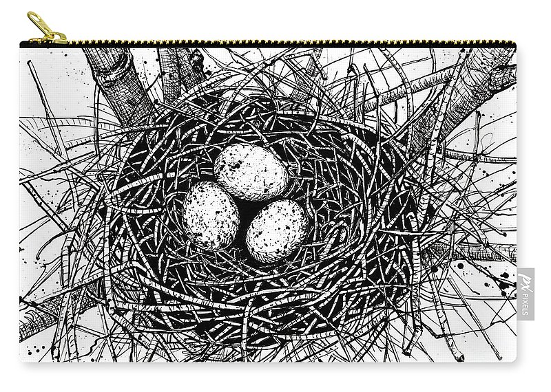 Drawings Birds Nest Ink Monochrome Carry-all Pouch featuring the drawing Birds Nest by Margaret Schons