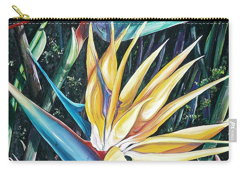 Caribbean Paintings Flower Paintings Bird Of Paradise Paintings  Lily Tropical Paintings Caribbean Flower Paintings Tropical Paintings Tropical Flower Paintings Greeting Card Paintings Canvas Print Paintings Poster Print Paintings Bloom Colorful Carry-all Pouch featuring the painting Birds Of Paradise 2  Sold by Karin Dawn Kelshall- Best