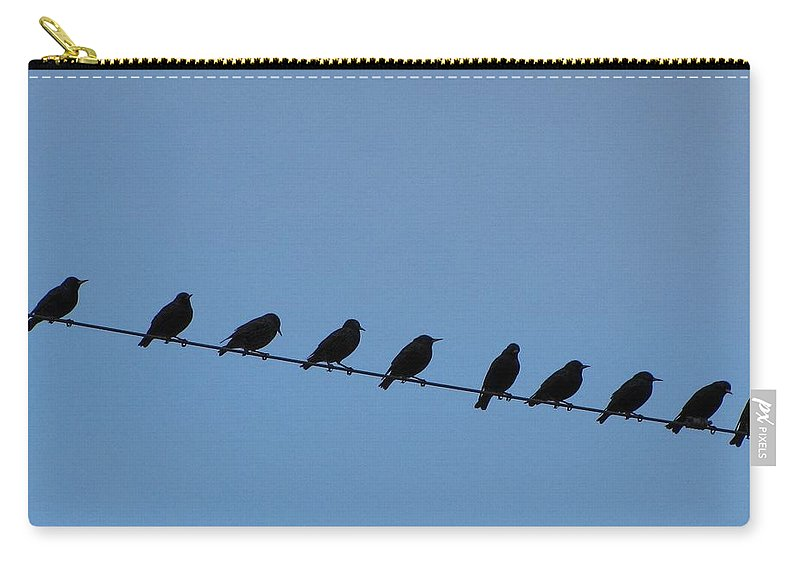 Birds Carry-all Pouch featuring the photograph Birds On A Wire by Beth Vincent