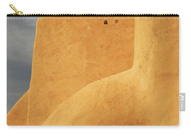 Built Structure Carry-all Pouch featuring the photograph Birds Perched On A Yellow Building by Win-initiative