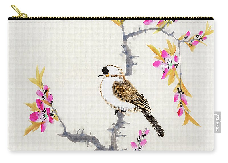 Chinese Culture Carry-all Pouch featuring the digital art Birds by Vii-photo